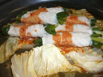豚肉のニラ巻き タジン鍋